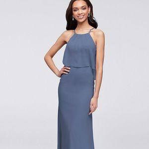 Long Flounced Crinkle Chiffon Bridesmaid Dress
